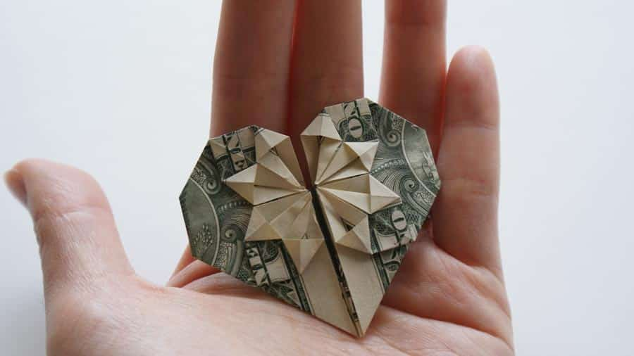heart shaped money folded