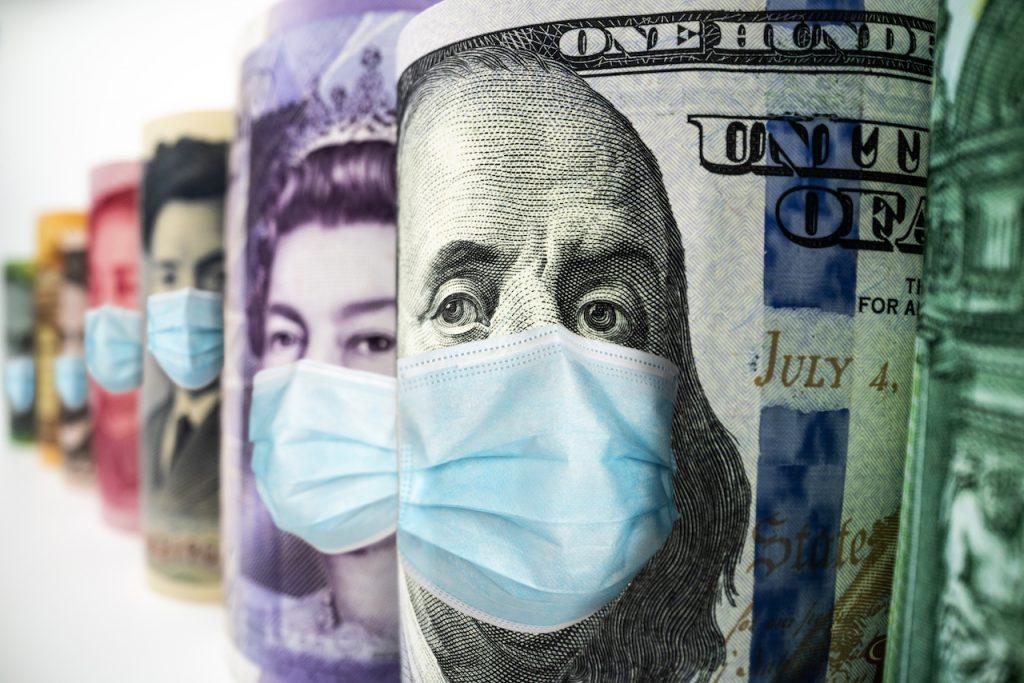 Money with mask COVID-19 delta economy